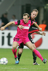 28.09.2011, BayArena, Leverkusen, GER, UEFA CL, Gruppe E, Bayer 04 Leverkusen (GER) vs KRC Genk (BEL), im Bild.Thomas Buffel (Genk #19) gegen Michal Kadlec (Leverkusen #24)..// during the UEFA CL, group E, Bayer Leverkusen vs KRC Genk  on 2011/09/28, at BayArena, Leverkusen, Germany. EXPA Pictures © 2011, PhotoCredit: EXPA/ nph/  Mueller *** Local Caption ***       ****** out of GER / CRO  / BEL ******