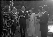 06/09/1978<br /> 09/06/1978<br /> 06 September 1978<br /> Reception for Mr. Sean Donlon, New Irish Ambassador to the United States, at the U.S. Embassy Residence, Phoenix Park, Dublin. Image shows Alderman Patrick Belton, Lord Mayor of Dublin; Ambassador William V. Shannon and Sean Donjon with their wives at the event.