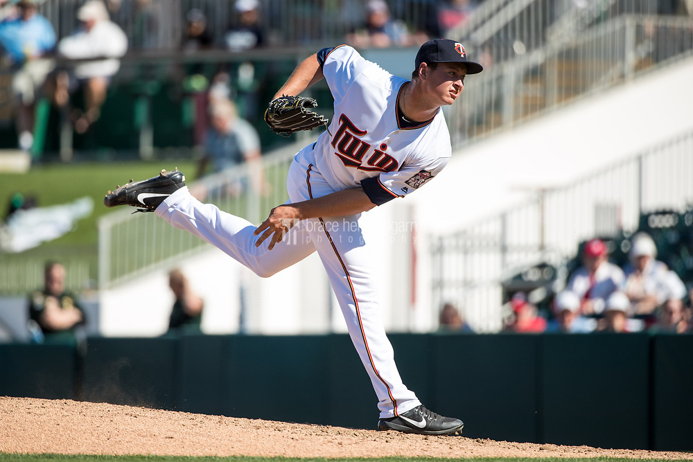 FORT MYERS, FL- FEBRUARY 26: Stephen Gonsalves #67 of the Minnesota Twins pitches against the Washington Nationals on February 26, 2017 at Hammond Stadium in Fort Myers, Florida. (Photo by Brace Hemmelgarn) *** Local Caption *** Stephen Gonsalves