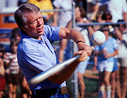 Jimmy Carter plays softball in his hometown of Plains, Georgia. Carter was pitcher and captain of his team that was comprised of off duty U.S. Secret service agents and White House staffers. The opposing team was comprised of members of the White house traveling press and captained by Billy Carter, the president's brother.