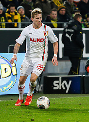 25.01.2014, Signal Iduna Park, Dortmund, GER, 1. FBL, Borussia Dortmund vs FC Augsburg, 18. Runde, im Bild Andre Hahn (FC Augsburg #28) spielt den Ball, Aktion, Freisteller, Einzelaktion, Ganzkoerper, Ganzfigur, hoch, Hochformat, vertikal // during the German Bundesliga 18th round match between Borussia Dortmund and FC Augsburg at the Signal Iduna Park in Dortmund, Germany on 2014/01/26. EXPA Pictures &copy; 2014, PhotoCredit: EXPA/ Eibner-Pressefoto/ Krieger<br /> <br /> *****ATTENTION - OUT of GER*****