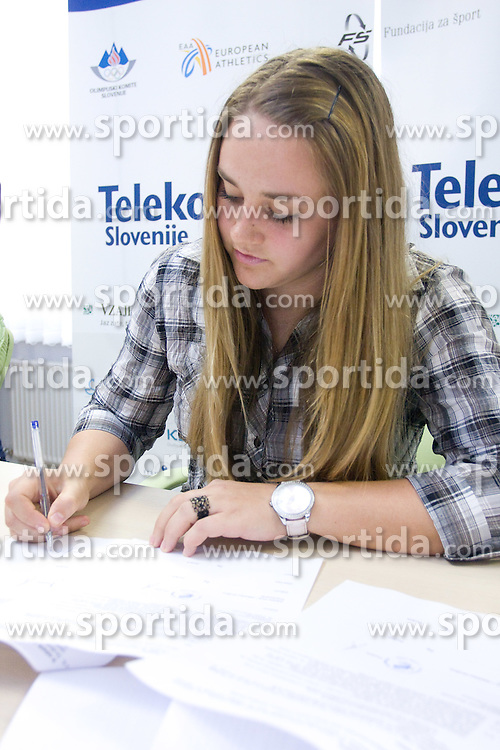 Ana Susec when Slovenian athletes and their coaches sign contracts with Athletic federation of Slovenia for year 2009,  in AZS, Ljubljana, Slovenia, on March 2, 2009. (Photo by Vid Ponikvar / Sportida)