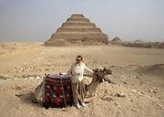 Woman and camel at the Step Pyramid of Djoser at Saqqara, Egypt