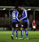 Oli Banks celebrates during the The FA Cup match between FC United of Manchester and Chesterfield at Broadhurst Park, Manchester, United Kingdom on 9 November 2015. Photo by Pete Burns.