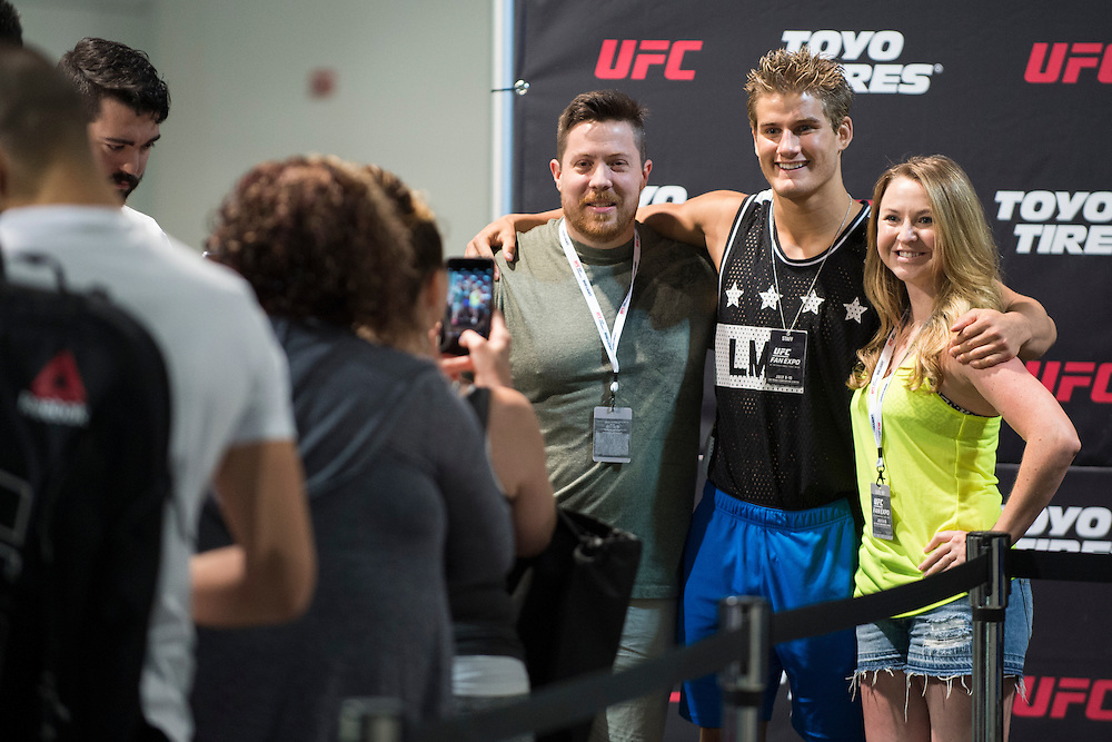 LAS VEGAS, NV - JULY 10:  Sage Northcutt visits with fans during UFC Fan Expo Day 3 at the Las Vegas Convention Center on July 10, 2016 in Las Vegas, Nevada. (Photo by Cooper Neill/Zuffa LLC/Zuffa LLC via Getty Images) *** Local Caption *** Sage Northcutt