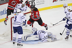 Nov 2; Newark, NJ, USA; New Jersey Devils right wing Dainius Zubrus (8) celebrates a goal on Toronto Maple Leafs goalie Jonas Gustavsson (50) during the first period at the Prudential Center.