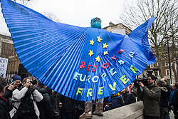 London, UK. 31 January, 2020. Madeleina Kay, aka EU Supergirl, joins pro-EU activists for a procession from outside Downing Street to Europe House, the location for the European Commission in London, on the occasion of Brexit Day.