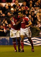 Fotball<br /> England 2004/2005<br /> Foto: SBI/Digitalsport<br /> NORWAY ONLY<br /> <br /> Nottingham Forest v Queen's Park Rangers<br /> Coca Cola Championship. 04/12/2004.<br /> <br /> Forest's Jack Lester (R) celebrates putting his side 2-1 up with David Johnson