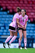 Caroline Weir (#9) of Scotland celebrates Scotland's second goal (2-1) with Nicola Docherty (#3) of Scotland during the International Friendly match between Scotland Women and Jamaica Women at Hampden Park, Glasgow, United Kingdom on 28 May 2019.