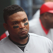 Marlon Byrd, Cincinnati Reds, in the dugout during the New York Mets Vs Cincinnati Reds MLB regular season baseball game at Citi Field, Queens, New York. USA. 28th June 2015. Photo Tim Clayton