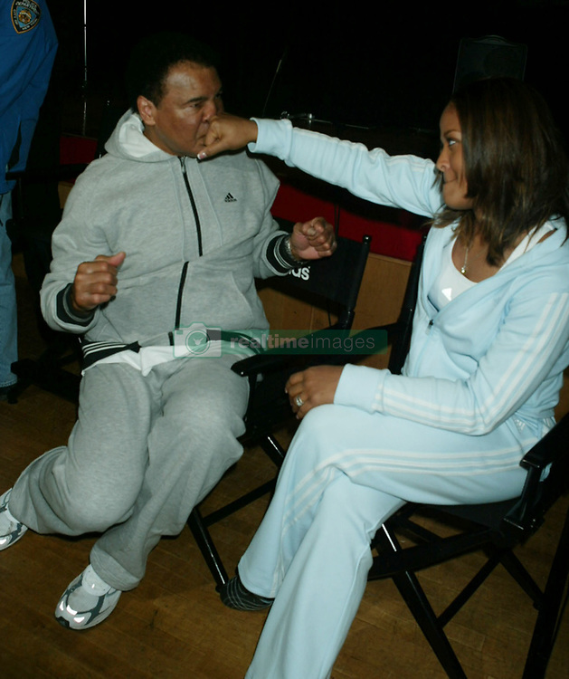 June 3, 2016 - File - Muhammad Ali, the three time heavyweight boxing champion, has died at the age of 74. He had been fighting a respiratory illness. Pictured: Feb 05, 2004; New York, NY, USA; Boxing great MUHAMMAD ALI & his daughter boxer LAILA ALI at the Harlem Police Athletic League where they announced a major commitment by Adidas to New York City Youth Sports. (Credit Image: Nancy Kaszerman/ZUMAPRESS.com)