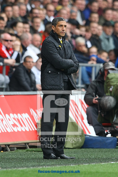 Norwich Manager Chris Hughton during the Barclays Premier League match at the Liberty Stadium, Swansea<br /> Picture by Paul Chesterton/Focus Images Ltd +44 7904 640267<br /> 29/03/2014