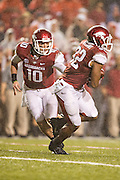 FAYETTEVILLE, AR - SEPTEMBER 28:  Brandon Allen #10 hands off the ball to Jonathan Williams #32 of the Arkansas Razorbacks during a game against the Texas A&M Aggies at Razorback Stadium on September 28, 2013 in Fayetteville, Arkansas.  The Aggies defeated the Razorbacks 45-33.  (Photo by Wesley Hitt/Getty Images) *** Local Caption *** Brandon Allen; Jonathan Williams