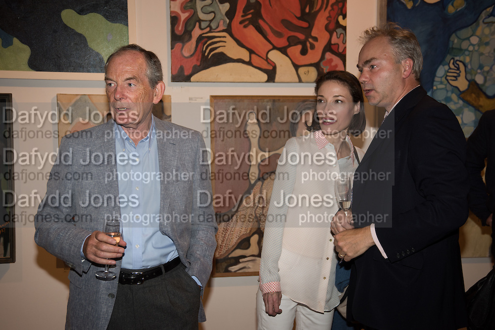 SIR SIMON JENKINS; LADY HANNAH JENKINS; JUSTIN RUSHBROOK, Exhibition opening of paintings by Charlotte Johnson Wahl. Mall Galleries. London, 7 September 2015.