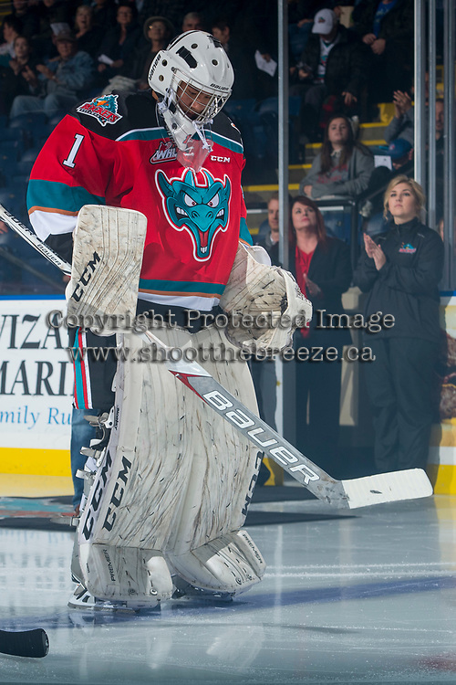 KELOWNA, CANADA - OCTOBER 27: James Porter #1 of the Kelowna Rockets lines up against the Tri-City Americans on October 27, 2017 at Prospera Place in Kelowna, British Columbia, Canada.  (Photo by Marissa Baecker/Shoot the Breeze)  *** Local Caption ***