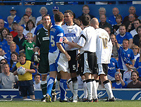 Photo: Ashley Pickering.<br /> Ipswich Town v Derby County. Coca Cola Championship. 14/04/2007.<br /> Derby goalie Stephen Bywater (L) argues with Alex Bruce of Ipswich (no. 5) before they are both sent off