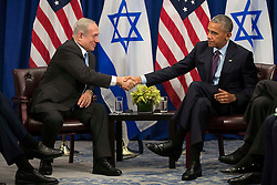 "(L to R) Prime Minister of Israel Benjamin Netanyahu shakes hands with U.S. President Barack Obama during a bilateral meeting at the Lotte New York Palace Hotel, September 21, 2016 in New York City. Last week, Israel and the United States agreed to a $38 billion, 10-year aid package for Israel. Obama is expected to discuss the need for a ""two-state solution"" for the Israeli-Palestinian conflict. Photo by Drew Angerer/Pool/ABACAPRESS.COM"