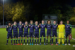 BANGOR, WALES - Tuesday, November 15, 2016: Wales players stand for the national anthem before the UEFA European Under-19 Championship Qualifying Round Group 6 match against Luxembourg at the Nantporth Stadium. Cole DaSilva, Ben Woodburn, Nathan Broadhead, Liam Cullen, Rhyle Ovenden, Matthew Smith, Regan Poole, Ethan Ampadu, goalkeeper Fergal Hale-Brown, captain Tyler Roberts. (Pic by David Rawcliffe/Propaganda)
