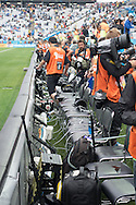 A full house of photographers for the Netherlands v Argentina World Cup 2014 semi final match at the Arena Corinthians, Sao Paulo, Brazil. Photo by Andrew Tobin/Tobinators Ltd