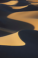Sahara desert sand dunes with strong shadows at Erg Lihoudi, M'hamid, Morocco.