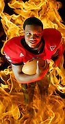 "Photo illustration of Northern Illinois University tailback MIchael Turner ""The Burner."""