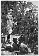 Charles Frederick MacKenzie (1825-62) Anglican Bishop of Central Africa (1861), leader of the Universities Mission, preaching to African children.  From Edwin Hodder 'Heroes of Britain' London c1880