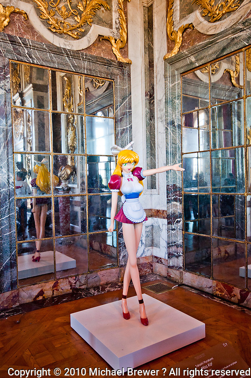Palace of Versailles. Figurine of Miss Ko2 by Japanese Manga artist Takashi Murakami on display at Versailles.