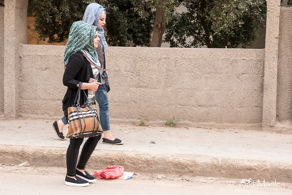 Unusual hijabs worn by young women in the Hasakeh area of Syria.