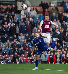 Johann Gudmundsson of Burnley (Top) heads at goal - Mandatory by-line: Jack Phillips/JMP - 05/10/2019 - FOOTBALL - Turf Moor - Burnley, England - Burnley v Everton - English Premier League