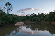 Peaceful sunset over the Rupununi River, Guyana.