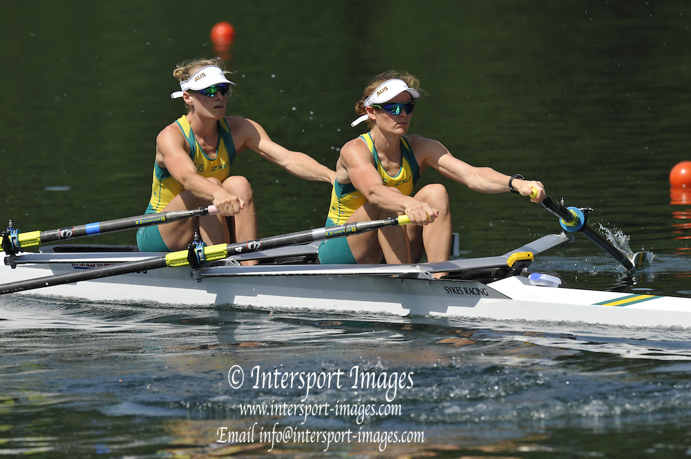 Lucerne, Switzerland. AUS  LW2X. bow Alice MANAMARA and Hannah EVERY-HALL. move away from the start. FISA World Cup, Rotsee Rowing Course, Lucerne. 10:36:12   Friday  09/07/2010.  [Mandatory Credit Peter Spurrier/ Intersport Images]