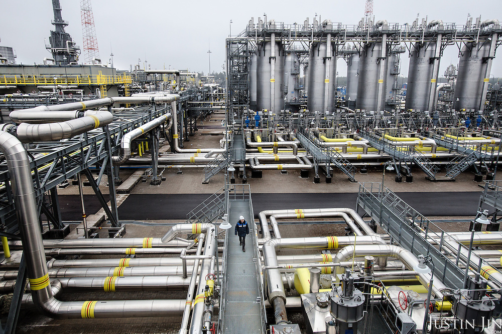 The Portovaya compressor station compresses Russian gas before it is piped across the Baltic Sea bed to supply energy to Europe. <br /> <br /> With the recent sanctions over Russia's incursion into Ukraine and tumbling world energy prices, Russia's economy is precarious.