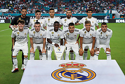 July 31, 2018 - Miami Gardens, Florida, USA - The Real Madrid C.F. opening team poses at the start of an International Champions Cup match between Real Madrid C.F. and Manchester United F.C. at the Hard Rock Stadium in Miami Gardens, Florida. Manchester United F.C. won the game 2-1. (Credit Image: © Mario Houben via ZUMA Wire)