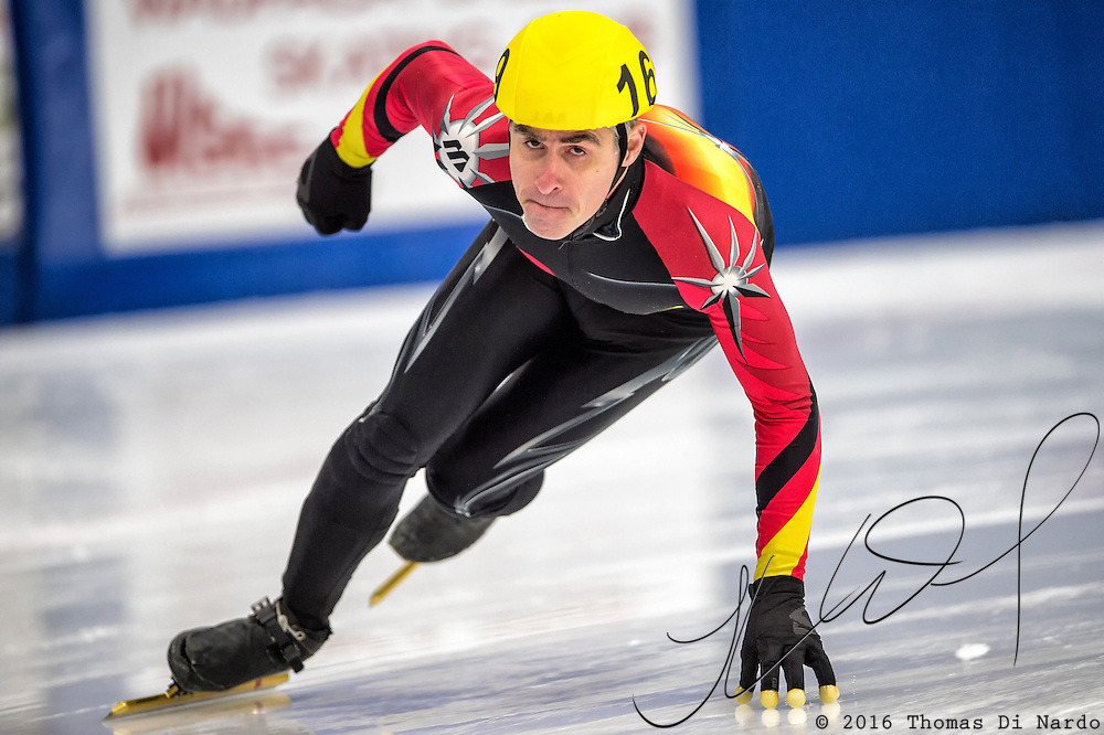 March 18, 2016 - Verona, WI - Kimon Papahadjopoulos, skater number 169 competes in US Speedskating Short Track Age Group Nationals and AmCup Final held at the Verona Ice Arena.