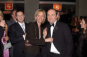 Matthew Freud, Elizabeth Murdoch and Kevin Spacey, Fundraising party with airline theme in aid of the Old Vic and to celebrate the appointment of Kevin Spacey as artistic director.  <br /> Old Billinsgate Market.  5 February 2003. © Copyright Photograph by Dafydd Jones 66 Stockwell Park Rd. London SW9 0DA Tel 020 7733 0108 www.dafjones.com