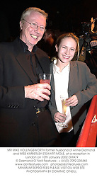 MR MIKE HOLLINGSWORTH former husband of Anne Diamond and MISS KIMBERLEY STEWART-MOLE, at a reception in London on 10th January 2002.OWK 9