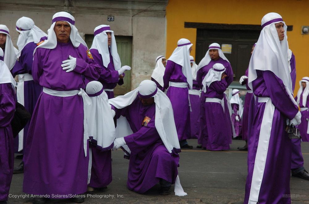 Holy Week celebrations in Antigua, Guatemala, 2006. Procession of La Hermandad de la Consagrada Imagen de Jesus Nazareno, Templo La Merced, Antigua Guatemala.
