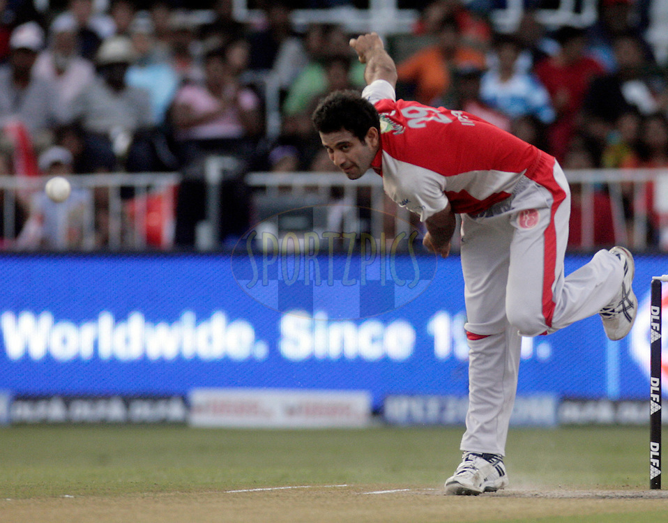 DURBAN, SOUTH AFRICA - 1 Mayl 2009. Irfan Pathan bowls during the IPL Season 2 match between Kings X1 Punjab and the Royal Challengers Bangalore held at Sahara Stadium Kingsmead, Durban, South Africa..