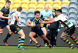 Ollie Lawrence (Bromsgrove School) of Worcester Warriors U18 hands off Devante Onojaife of Northampton Saints U18 - Mandatory by-line: Robbie Stephenson/JMP - 22/01/2017 - RUGBY - Sixways Stadium - Worcester, England - Worcester Warriors U18 v Northampton Saints U18 - Premiership Rugby U18 Academy League