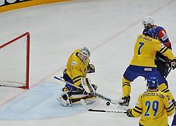 11.05.2013, Globe Arena, Stockholm, SWE, IIHF, Eishockey WM, Schweden vs Slowenien, im Bild Sverige Sweden 1 Goalkeeper Jhonas Enroth // during the IIHF Icehockey World Championship Game between Sweden and Slovenia at the Ericsson Globe, Stockholm, Sweden on 2013/05/11. EXPA Pictures © 2013, PhotoCredit: EXPA/ PicAgency Skycam/ Simone Syversson..***** ATTENTION - OUT OF SWE *****