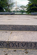 WASHINGTON, DC, USA - 1997/04/23: Granite steps engraved with the name Roosevelt at the entrance to the Roosevelt Memorial and FDR Monument on the Tidal Basin during the commemoration and unveiling of the site April 23, 1997 in Washington, DC.     (Photo by Richard Ellis)