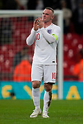Wayne Rooney of England applauds the fans during the International Friendly match between England and USA at Wembley Stadium, London, England on 15 November 2018.