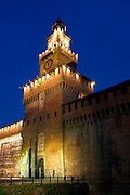 Europe, Italy, Lombardy, Milan, Night, beautiful, color, Sforzesco castel, Filarete