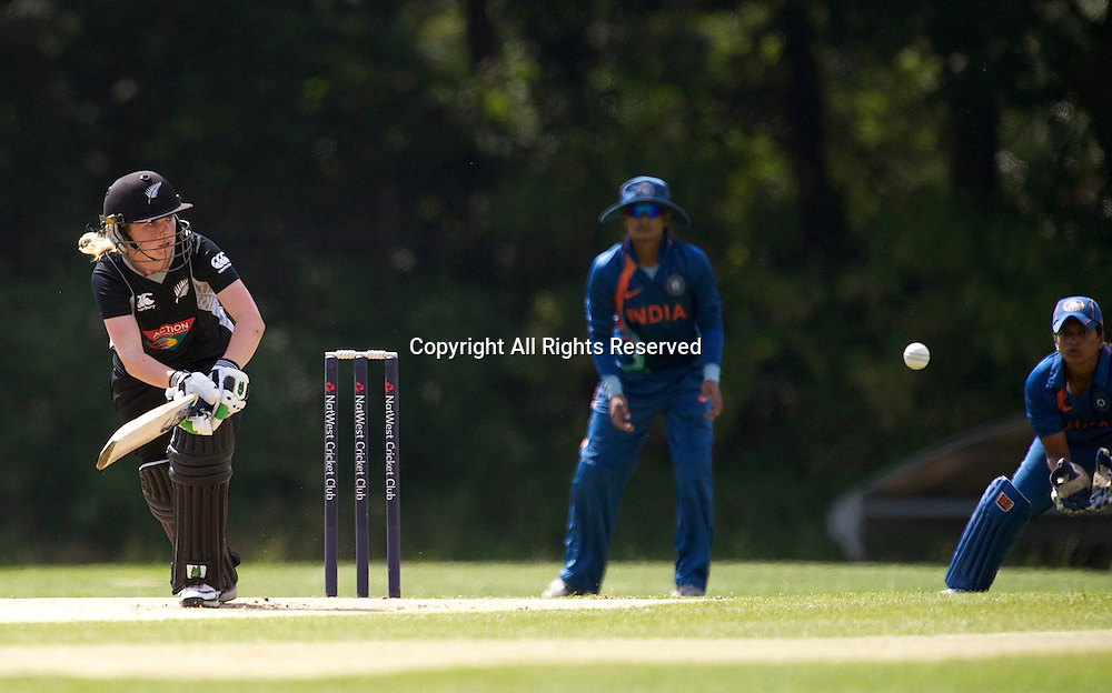 5.7.11 Southgate, England. Lucy Doolan of New Zealand White Ferns in action during the India Women vs White Ferns NatWest Womens Quadrangular Series Women's One-Day Match at The Walker Cricket Ground, Southgate.