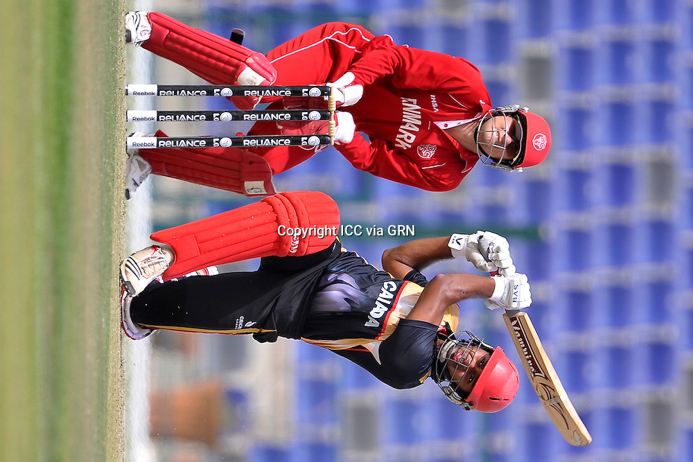 Canada's Ruvindu Gunasekera keeps the runs piling in with another boundry at the ICC World Twenty20 Qualifier UAE 2012.. Pix ICC/Thusith Wijedoru