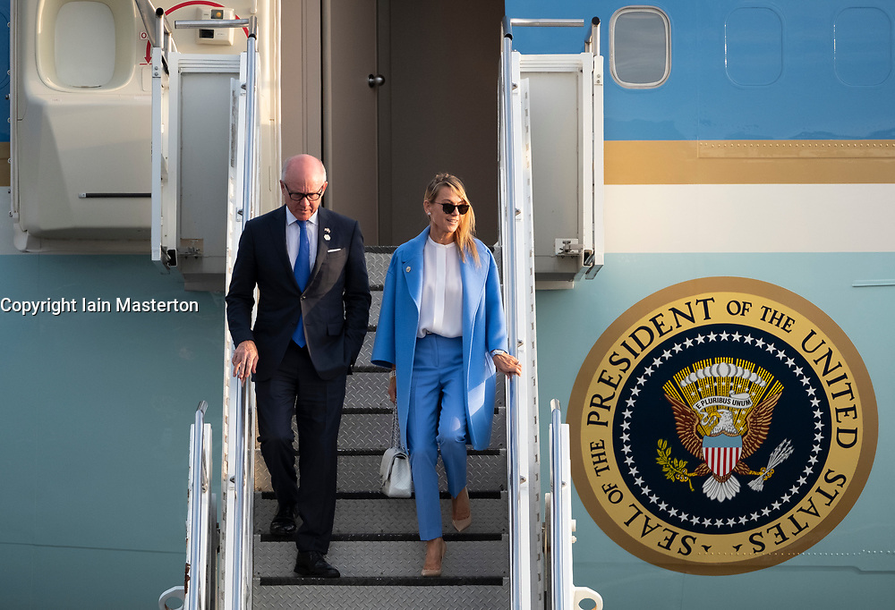 Prestwick Airport, Scotland, UK. 13 July, 2018. President Donald Trump arrives on Air Force One at Prestwick Airport in Ayrshire ahead of a weekend at his golf resort at Trump Turnberry. US Ambassador Johnson and his wife.