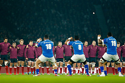England players face up to the Samoa players before the game - Photo mandatory by-line: Rogan Thomson/JMP - 07966 386802 - 22/11/2014 - SPORT - RUGBY UNION - London, England - Twickenham Stadium - England v Samoa - QBE Autumn Internationals.