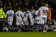 Bury players celebrate scoring the opening goal scored by Danny Rose of Bury (9) during the Sky Bet League 2 match at Kenilworth Road, Luton<br /> Picture by David Horn/Focus Images Ltd +44 7545 970036<br /> 19/08/2014