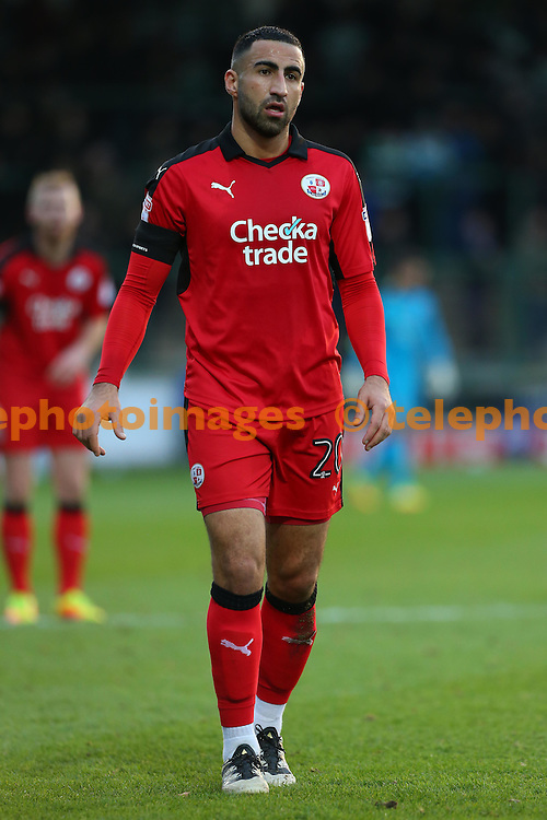 Crawley&rsquo;s Aryan Tajbakhsh during the Sky Bet League 2 match between Yeovil Town and Crawley Town at Huish Park in Yeovil. December 3, 2016.<br /> James Boardman / Telephoto Images<br /> +44 7967 642437