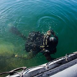 Plongeurs de Combat du Génie de la SRIO du 2ème Régiment Etranger du Génie lors de leur entraînement d'hiver au lac d'Annecy. Plongées au recycleur à circuit fermé de jour et de nuit et tests de matériels de plongée dans le lac. Entraînement à la fouille opérationnelle et au déminage au quartie Tom Morel. <br /> Février 2019 / Annecy (74) / FRANCE<br /> Voir le reportage complet (90 photos) https://sandrachenugodefroy.photoshelter.com/gallery/2019-02-Plongeurs-du-2e-REG-Complet/G0000yKhKNqvmdoU/C0000yuz5WpdBLSQ